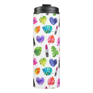 Rainbow watercolor palm leaves pin kiss lipsticks thermal tumbler
