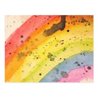 Rainbow Watercolor Postcard