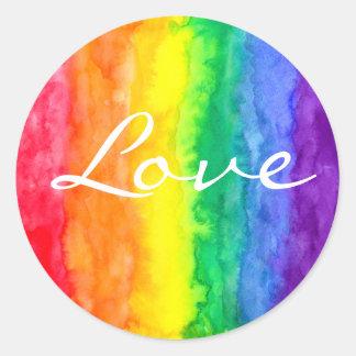 Rainbow Watercolor Wash Round Sticker