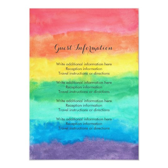 Rainbow Watercolor Wedding Card