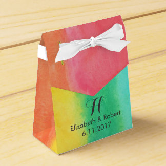 Rainbow Watercolor Wedding Favour Box
