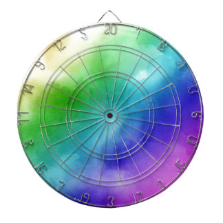 Rainbow Watercolors Dartboard