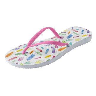 Rainbow Watercolour Feathers Summer Flip Flops