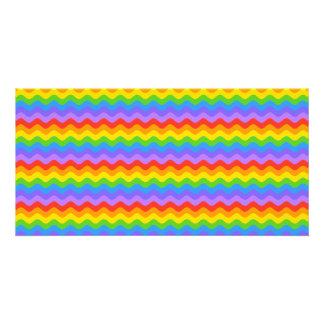 Rainbow Wave Stripes. Custom Photo Card