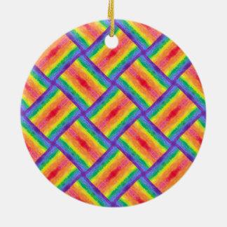 Rainbow Weave Circle Ornament