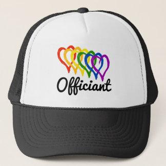 Rainbow Wedding Layered Hearts Officiant Trucker Hat