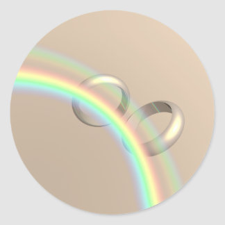 Rainbow Wedding Rings Classic Round Sticker