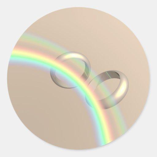 Rainbow Wedding Rings Stickers