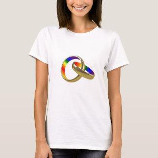 Rainbow wedding rings womens t-shirt
