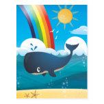 Rainbow Whale Postcard