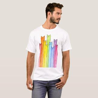 Rainbow Whimsical Cats Illustration T-Shirt