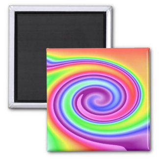 Rainbow Whirl Square Magnet