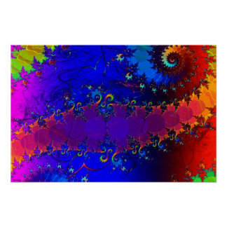 Rainbow Whirl Whimsical Fractal Poster