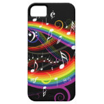 Rainbow White Music Notes iphone 5 case