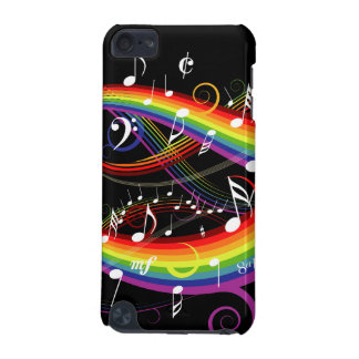 Rainbow White Music Notes on Black iPod Touch 5G Case