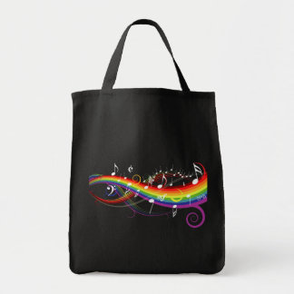 Rainbow White Music Notes on Black Grocery Tote Bag