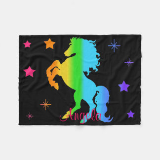 Rainbow Wild Horse Star Girl Multicolor Silhouette Fleece Blanket