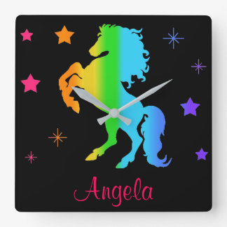 Rainbow Wild Horse Star Girl Multicolor Silhouette Square Wall Clock