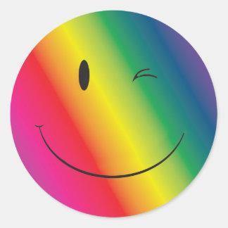 Rainbow Wink Face Classic Round Sticker