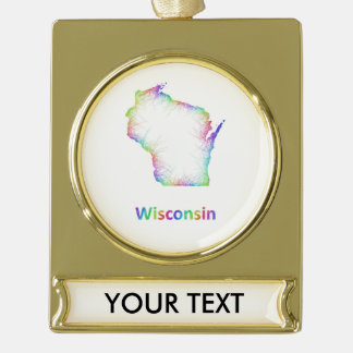 Rainbow Wisconsin map Gold Plated Banner Ornament