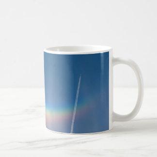rainbow with aeroplane basic white mug