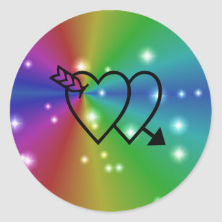 rainbow with asterisks and heart round sticker