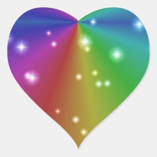 rainbow with asterisks heart sticker