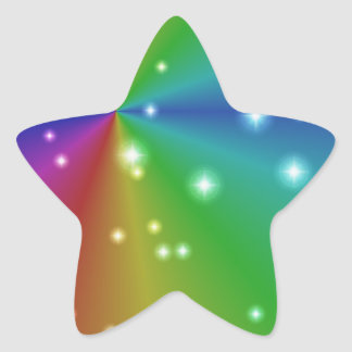 rainbow with asterisks star sticker