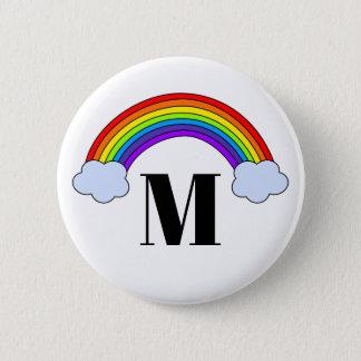 Rainbow with Monogram Initial 6 Cm Round Badge