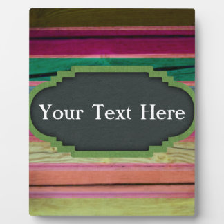 Rainbow Wood With Chalkboard Personalization Photo Plaque