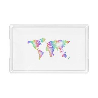 Rainbow World map Acrylic Tray