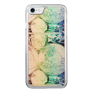 Rainbow World Map Atlas Design Carved iPhone 8/7 Case