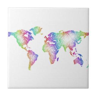 Rainbow World map Ceramic Tile