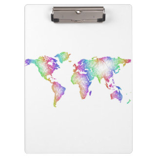 Rainbow World map Clipboard