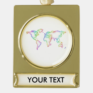 Rainbow World map Gold Plated Banner Ornament