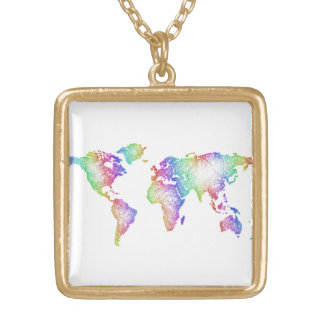 Rainbow World map Gold Plated Necklace