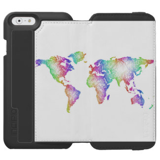 Rainbow World map Incipio Watson™ iPhone 6 Wallet Case