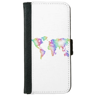 Rainbow World map iPhone 6 Wallet Case