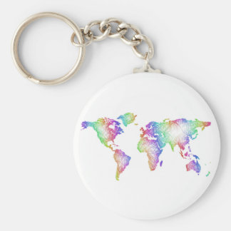Rainbow World map Key Ring