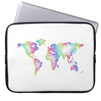 Rainbow World map Laptop Sleeve