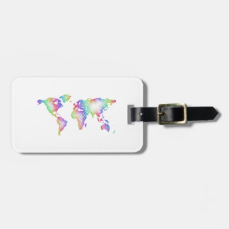 Rainbow World map Luggage Tag