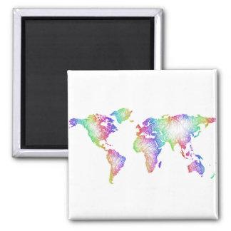 Rainbow World map Magnet