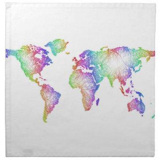 Rainbow World map Napkin