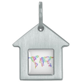 Rainbow World map Pet Name Tag