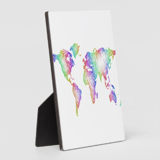 Rainbow World map Plaque