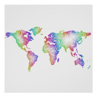 Rainbow World map Poster