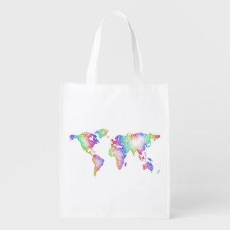 Rainbow World map Reusable Grocery Bag