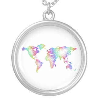 Rainbow World map Silver Plated Necklace