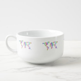 Rainbow World map Soup Mug
