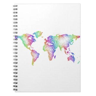 Rainbow World map Spiral Notebook